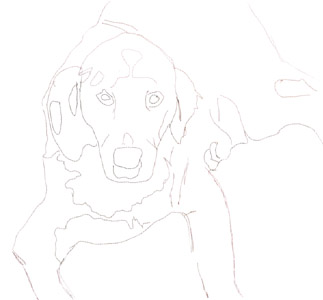 Ezzy as a puppy, Painter sketch
